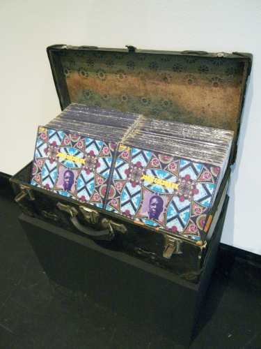 Terry Adkins Infinity Cherokee trunk, John Coltrane Infinity albums  20 × 26.5 × 13.5 inches